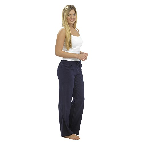 CityComfort Pantaloni Casual Donna in Lino Elegante con Elastico in Vita Pantalone Estivo con Tasche per Vacanze Lavoro (40, Blu Marino a Tutta Lunghezza)