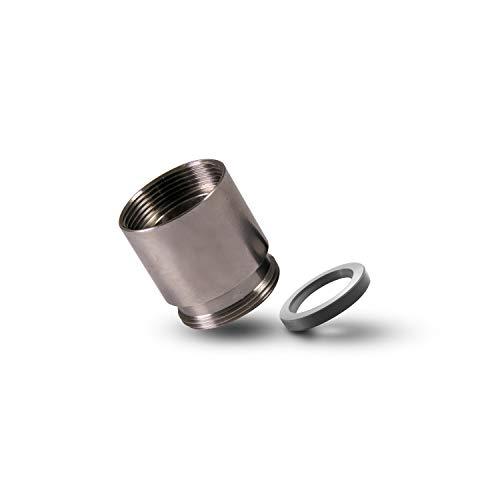 Alb Filter® Gewindeadapter M22 x 1 IG auf AG Feingewinde. Verlängerungsstück für Wasserhahn. Dünnwandige Buchse mit Dichtung | Edelstahl | Made in Germany 25 mm