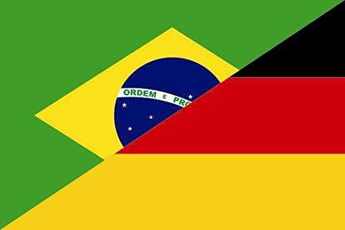 U24 Aufkleber Brasilien-Deutschland Flagge Fahne 8 x 5 cm Autoaufkleber Sticker