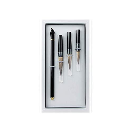 Pincel de escritura de buena calidad, pincel de caligrafía china profesional, cepillo de escritura de metal, pincel de dibujo japonés Maobi para principiantes, regalo de práctica (color negro).