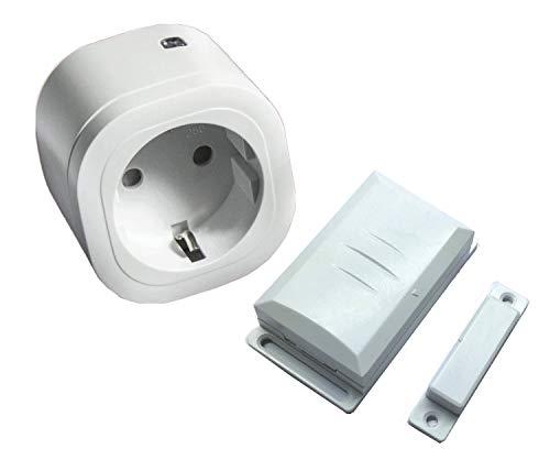 Intertechno Funk Abluftsteuerung Set 3000 W für Dunsthauben Funk Power Zwischenstecker IT-3000 und Funk Fensterkontaktschalter DFM-1000 mit Anschlussmöglichkeit für Externkontakt + und/oder-Funktion