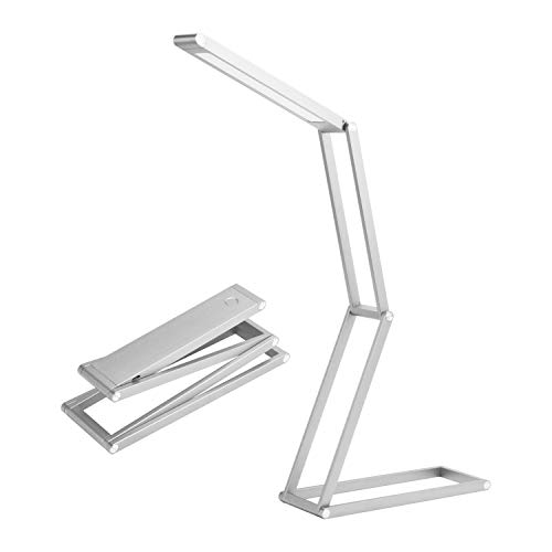 Foldable LED Desk Lamp, USB Rechargeable Selfie Light, Portable Table lamp, Light Hangers, Portable and Multi-Functional for Reading, Studying, Camping, Home,Bedroom and Office - ANTIEE (Silver)