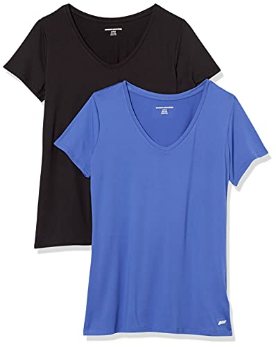 Amazon Essentials 2-Pack Tech Stretch Short-Sleeve V-Neck T-Shirt athletic-shirts, Azul Brillante/Negro, US L (EU L - XL)