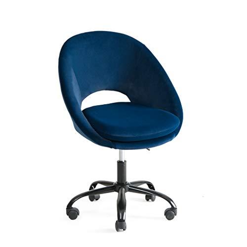 Bürostuhl mit Rollen Drehstuhl ohne Armlehne Verstellbar Hydraulische Schreibtisch Bürohocker mit Rücken für Büro Rezeptionen Lernzimmer oder Computertisch Ergonomischer Bürostuhl Blau bis 150 kg