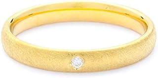 Breuning 18K Yellow Matte & Shiny Finish 0.02ct Round cut Diamond Wedding Ring [BR5603]