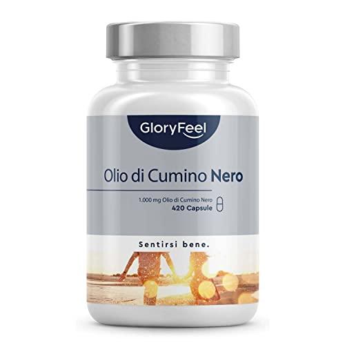 Olio di Semi di Cumino Nero con Vitamina E in Capsule, 1000mg ad alto dosaggio, 420 capsule di Nigella Sativa Egiziana, Acidi Grassi Insaturi, Potente Antiossidante