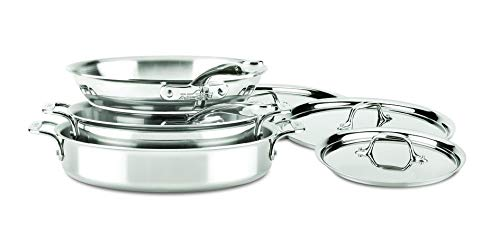 All-Clad ST40007 D3 Compact Stainless Steel Dishwasher Safe Cookware Set, 7-Piece, Silver