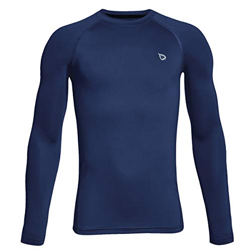 BALEAF Boys' & Girls' Youth Compression Shirts Long Sleeve Undershirts Performance Baselayer Navy Size S