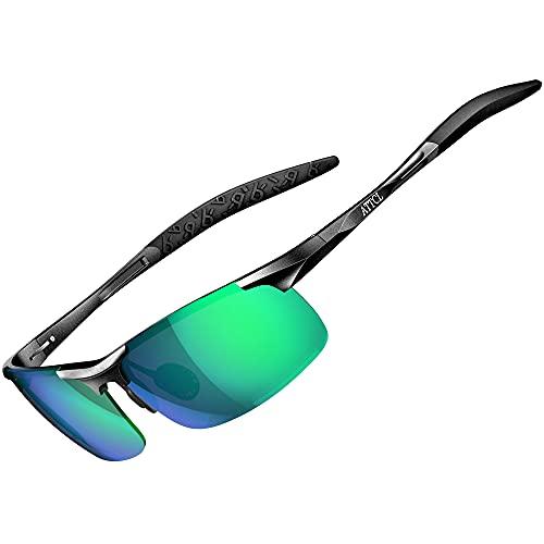 ATTCL Herren Polarisierte Treiber Glasses Sportbrille Sonnenbrille Al-Mg Metallrahme Ultra leicht 8177 Green