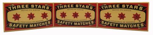 Swedish Match, Three Stars Safety Matches, 3 Pack, Strike-On-Box