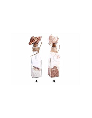Hogar y Mas bloempot met schelpen en zand, ter decoratie, 2 modellen – A