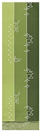 半幅帯 レディース 京紫織 猫 ミシン 4.4m 長尺 ロング 日本製 N1263 (緑色系(1263c))