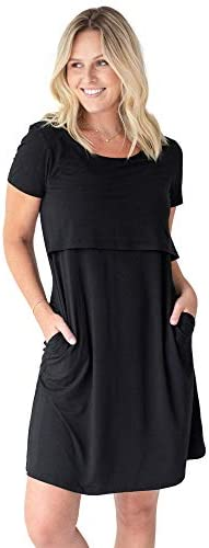 Kindred Bravely Eleanora Ultra Soft Bamboo Maternity and Nursing Nightgown Lounge Dress Black product image