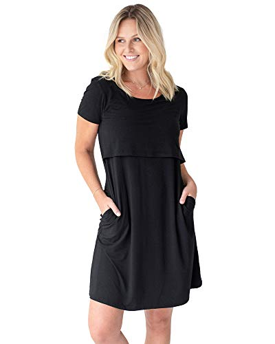 Kindred Bravely Eleanora Ultra Soft Bamboo Maternity and Nursing Nightgown/Lounge Dress (Black, Medium)