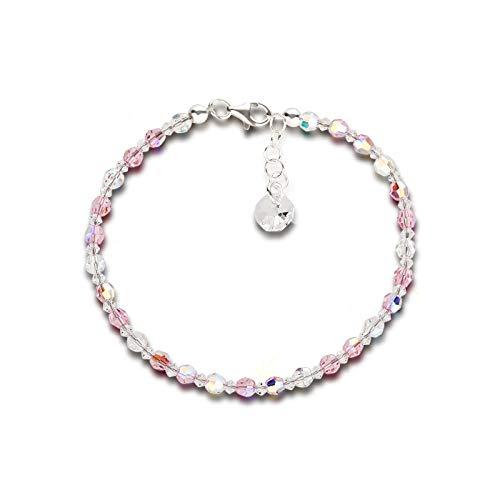 Schöner Schmuck-Design Feines Armband 4mm Swarovski® Kristallperlen 925 Silber Light Rose rosa