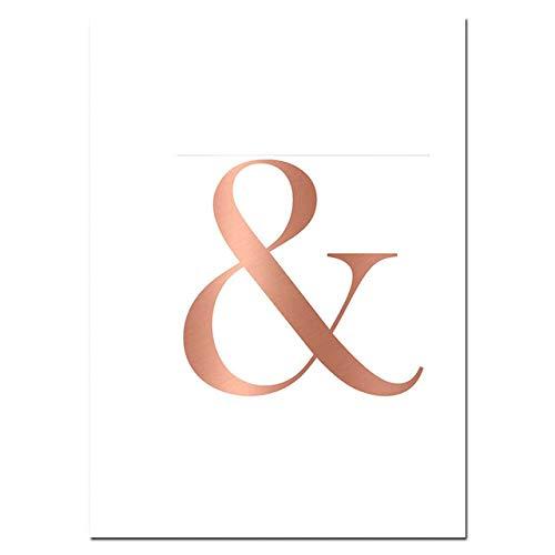 LiMengQi Marmor Poster und Drucke rosa grau Rose Gold Canva Kunst Malerei kaufmännisches und Diamant Wand Moderne Kunst Wandbilder für Wohnzimmer (kein Rahmen)