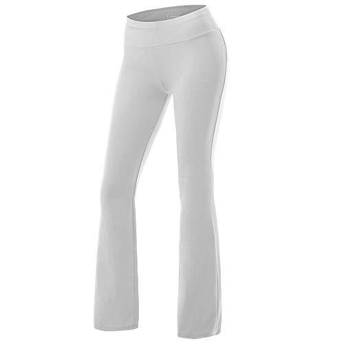 Mujer Pantalones Yoga Pata Anchos Cintura Alta Elegantes Ligeros Elastico Sólido Largos Pantalon Palazzo Deportivo Pants Casual Loungewear(Blanco,2XL)
