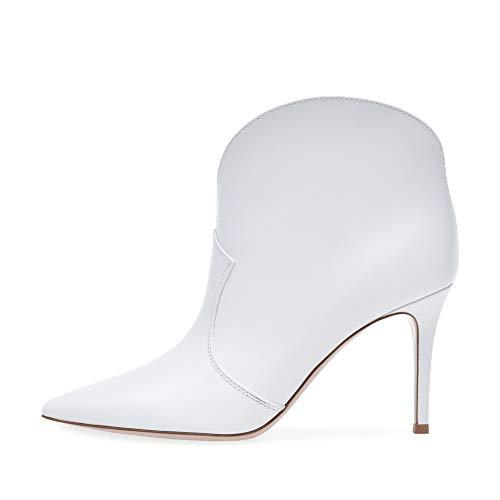 XER dames laarzen, puntige mouw hoge hak enkellaarzen maat 34-46 voor Fancy Dress Party (wit)
