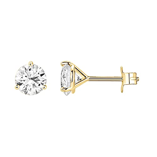 14K Yellow Gold Plated Sterling Silver Cubic Zirconia Stud Earrings for Women Round 6mm