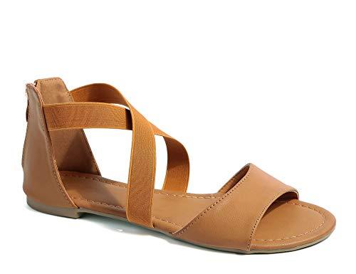 MaxMuxun Women's Flat Sandals,Zipper Elastic Ankle Strap Gladiator Open Toe Summer Sandals Brown Size 8