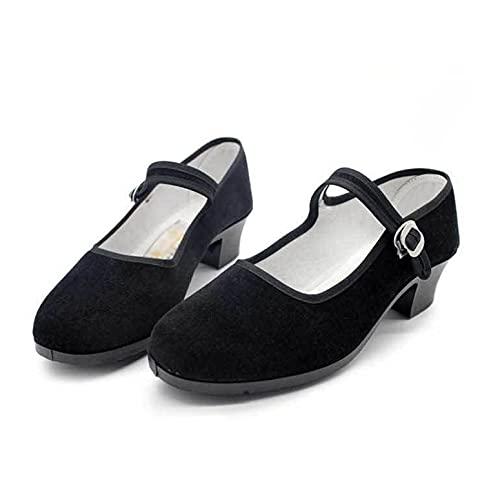 LGYKUMEG Chaussures Chinoises Ballerines Chaussures Traditionnelles, Ballerines Noires en Velours, Taille 34-41EU, Chaussures Basses idéales pour Les Jeans,Noir,39