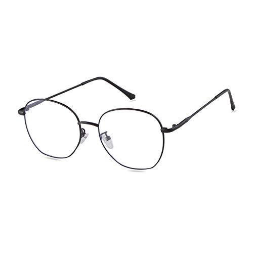ADEWU Retro Nerdbrille Klassisches Rund Rahmen Blue Light Blocking Glasses Damen Herren (Anti Blaulicht-Schwarz)