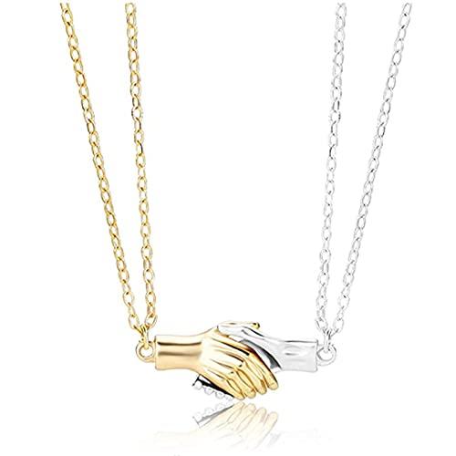 wgkgh Collar automático de apretón de manos para pareja-colgante magnético de apretón de manos, un regalo romántico de joyería para novia y esposa (oro+plata)