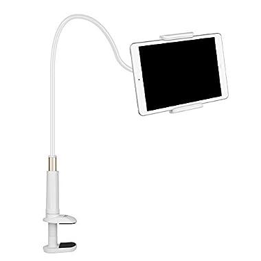 FUTESJ Gooseneck Tablet Stand,Clamp Mount Phone Holder Flexible Clip Lazy Arm Bracket for 10.5Inch iPad Pro/iPad/iPad mini 4/iPhone X/8/7/6s/Plus/5S/Samsung S8/S7/S6/Note Smartphone(White)