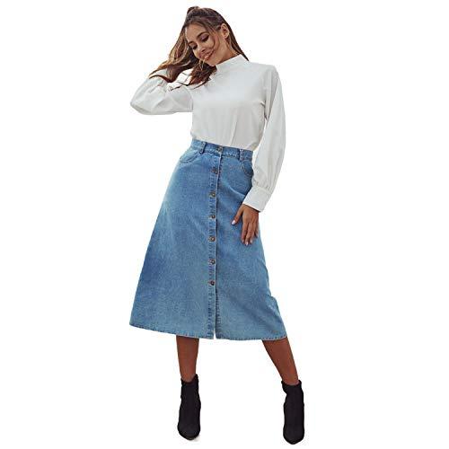 ZHOUSITONGEU High Waist Slim Spijkerrok (Color : Blue, Size : S)