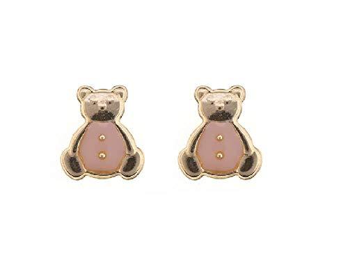 9ct Yellow Gold Peach enamel Teddy Bear Andralok stud earrings/novelty gift box included