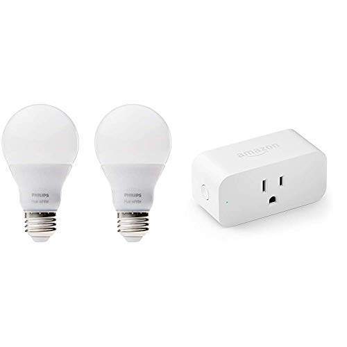 Philips Hue White A19 2-Pack 60W Equivalent Dimmable LED Smart Bulbs, Old Version & Amazon Smart Plug, Works with Alexa – A Certified for Humans Device