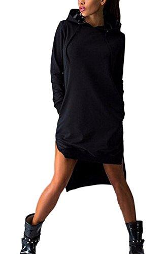 HX fashion Donna Felpe Cappuccio Autunno Lunghe Sportive Eleganti Felpa Vestiti Manica Lunga Sciolto Irregolare Casual Puro Colore Maglia Abiti