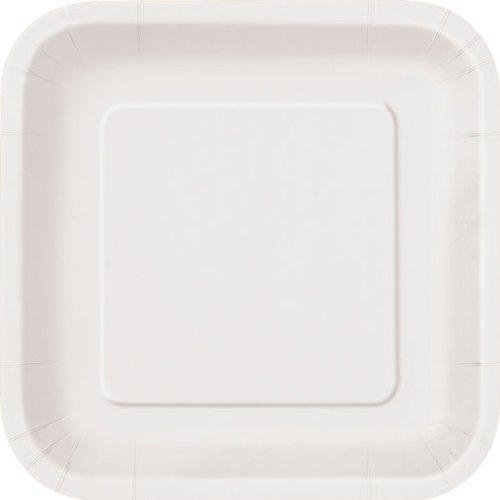Lot de 14 assiettes carrées en carton Blanc 23 cm