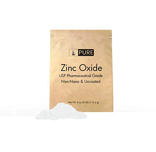Zinc Oxide Powder (4 oz.) by Pure Organic Ingredients, Eco-Friendly Packaging, Non-Nano, Uncoated, USP Grade, For Sunscreen, Diaper Rash Ointment, Burn Relief & Chapped Lips Remedy