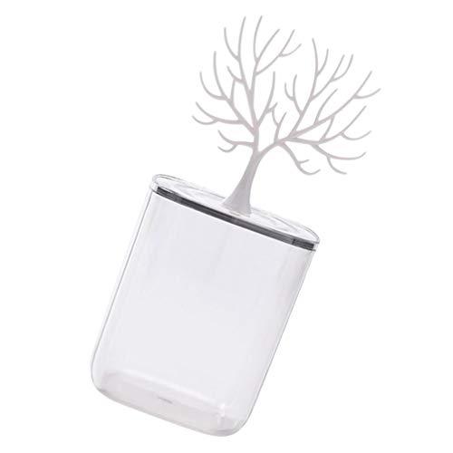 Cabilock Caja de Almacenamiento de Astas de Reno Transparente Soporte de Exhibición de Pendientes de Escritorio Caja de Hisopo de Algodón Organizador de Joyas Contenedor