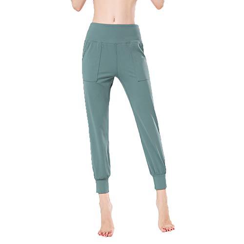 FDSVCSXV Pantalones de Yoga de Jogger de Cintura Alta Sueltos para Mujeres, Alto elástico para Correr con Bolsillos,Ai Cyan,S