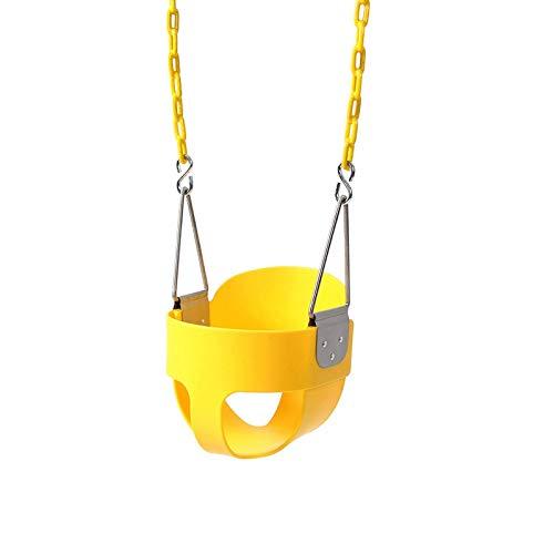 N/Z Living Equipment Swing Asiento de Columpio para niños pequeños con Respaldo Alto y Cubo Completo con Cadenas recubiertas de plástico y mosquetones para una fácil instalación (Color: Azul)