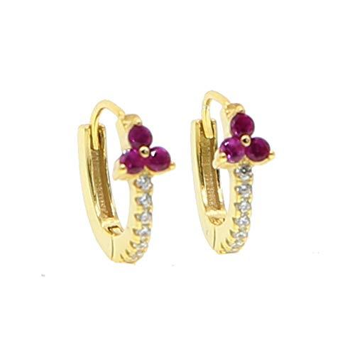 FKJSP Pendientes elegantes para mujer, joyería de moda, minimalista, apilable, color de la gema: E221 G rojo)