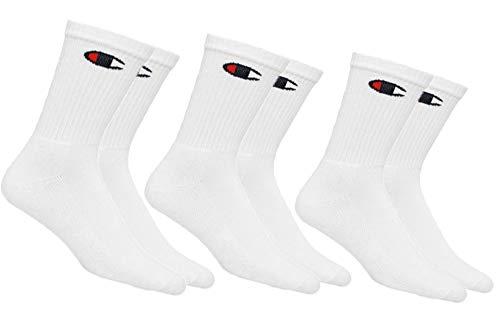 Champion Life Unisex 3-Pack Crew Socks, Shoe Size: Men's 6-12/Women's 8-12, White