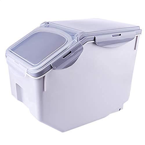 10Kg Versiegelte Reisbehälter,Aufbewahrungsbox Küche Mit Rad,Küchenorganisation Für Hundefutter/Trockenfutter/Mehl Stapelbar Für Platzsparende,Grau,32 * 22.5 * 26cm