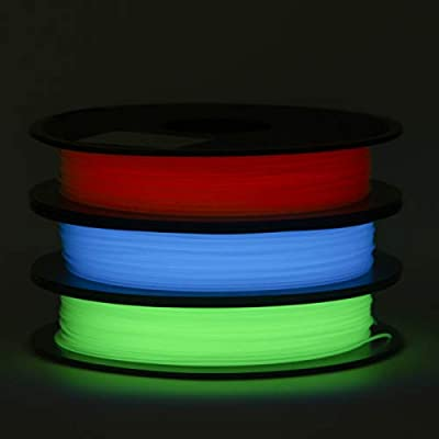 ECHEN PLA Filament 1.75mm Set, Glow in The Dark Blue, Green and Red 3D Printer Filament +/- 0.03 mm, 3 x 0.5KG, Includes Sample Marble Filament.