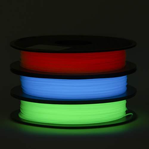 ECHEN PLA Filament 1.75mm Set, Glow in The Dark Blue, Green and Red 3D Printer Filament +/- 0.03 mm, 3 x 0.5KG.