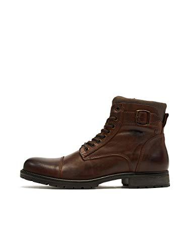 JACK & JONES Herren JFWALBANY Leather STS Biker Boots, Braun (Brown Stone Brown Stone), 42 EU