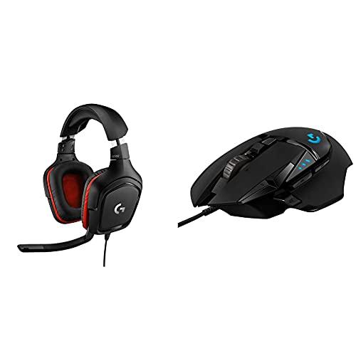 Logitech G332 Cuffie Gaming Cablate + Logitech G502 HERO Mouse Gaming Prestazioni Elevate