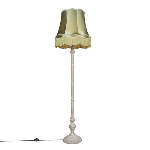 QAZQA - Retro Retro Stehlampe grau mit grünem Oma Schatten - Classico | Wohnzimmer | Schlafzimmer - Holz Rund - LED geeignet E27