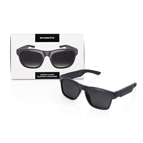 Inventiv Wireless Bluetooth Sunglasses, Open Ear Music & Hands-Free Calling, for Men & Women, Polarized Lenses, Compatible with iPhone/Android (Black/Grey Classic)