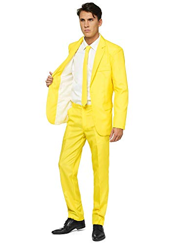 Offstream Plain Colored Suits for Men – Costumes Include Jacket Pants and Tie, L, Plain Yellow