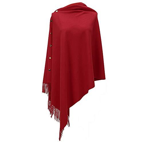 Bufanda cálida de invierno – Poncho para mujer, abrigo de invierno, bufandas largas suaves y cálidas con botón de punto de chal manta de lana con borla de cachemira