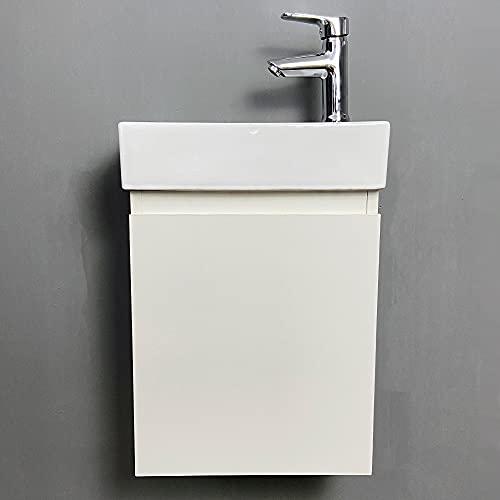 YIZHE Mueble de baño pequeño con Lavabo,Unidad de Lavabo, Blanco Brillante, Minimalista, pequeño con Lavabo en Blanco Lavabo con Armario Inferior,40.5 * 22.5 * 55cm (excluyendo el Grifo)