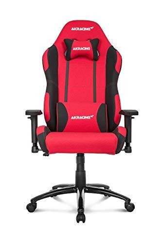 AKRACING Core EX Wide Gaming Stuhl mit 5 Jahren Herstellergarantie für PC/PS4/XBOX/Nintendo, Schreibtischstuhl mit Kissen, Stoffbezug - Rot/Schwarz